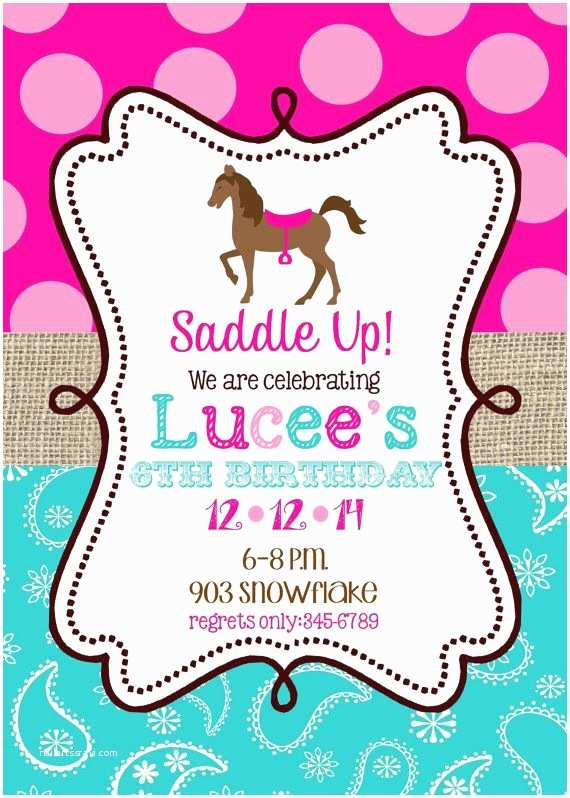 Horse Party Invitations Horse Birthday Party Invitations Printable or Digital File