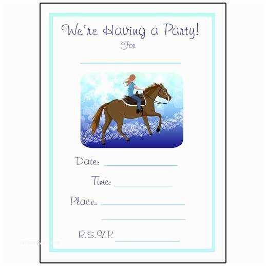 Horse Party Invitations Horse Dreams Fill In the Blank Birthday Party Invitations