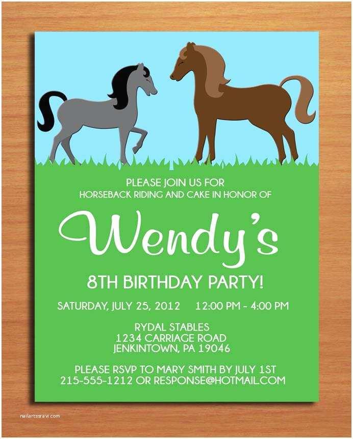 Horse Party Invitations Horse Pony Birthday Party Invitation Cards Printable Diy