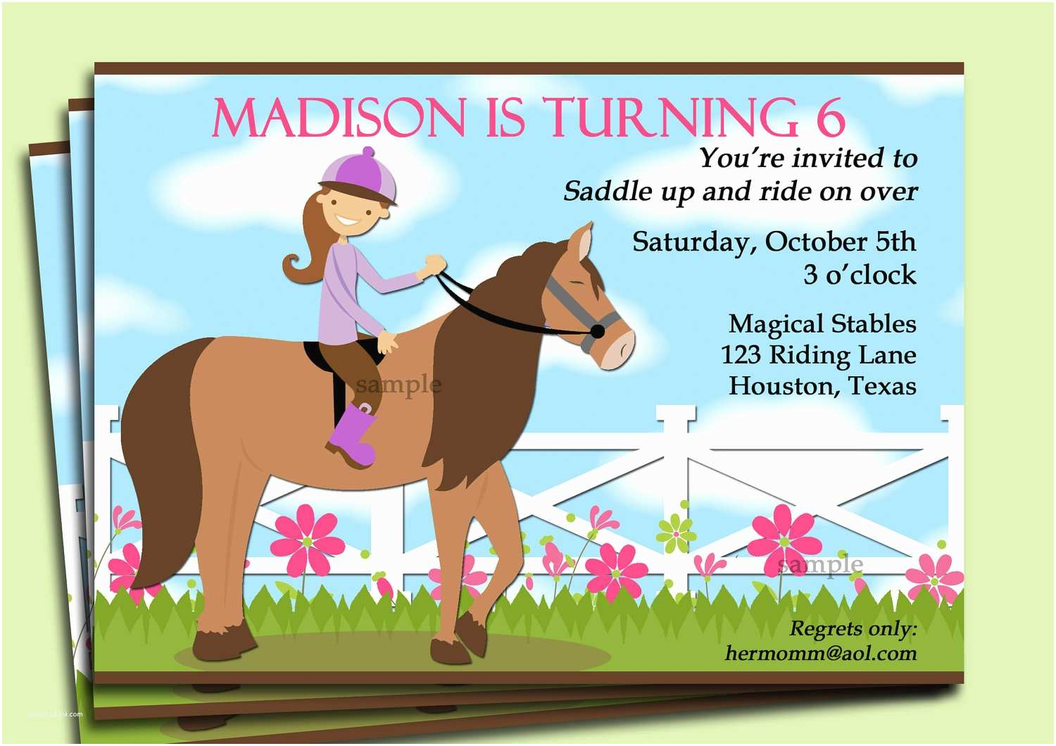 Horse Party Invitations Horse Riding Invitation Printable or Printed with Free