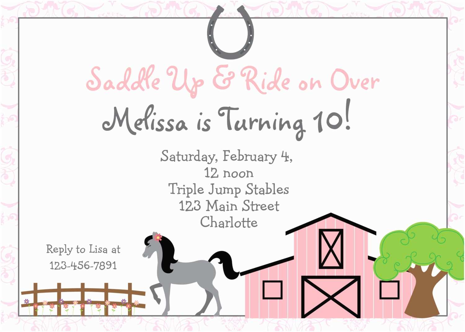 Horse Party Invitations Horseback Riding Birthday Invitation by thebutterflypress