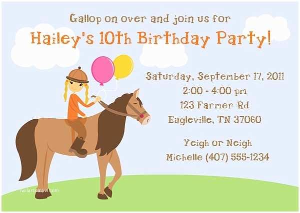 Horse Party Invitations Horseback Riding Birthday Party Invitations