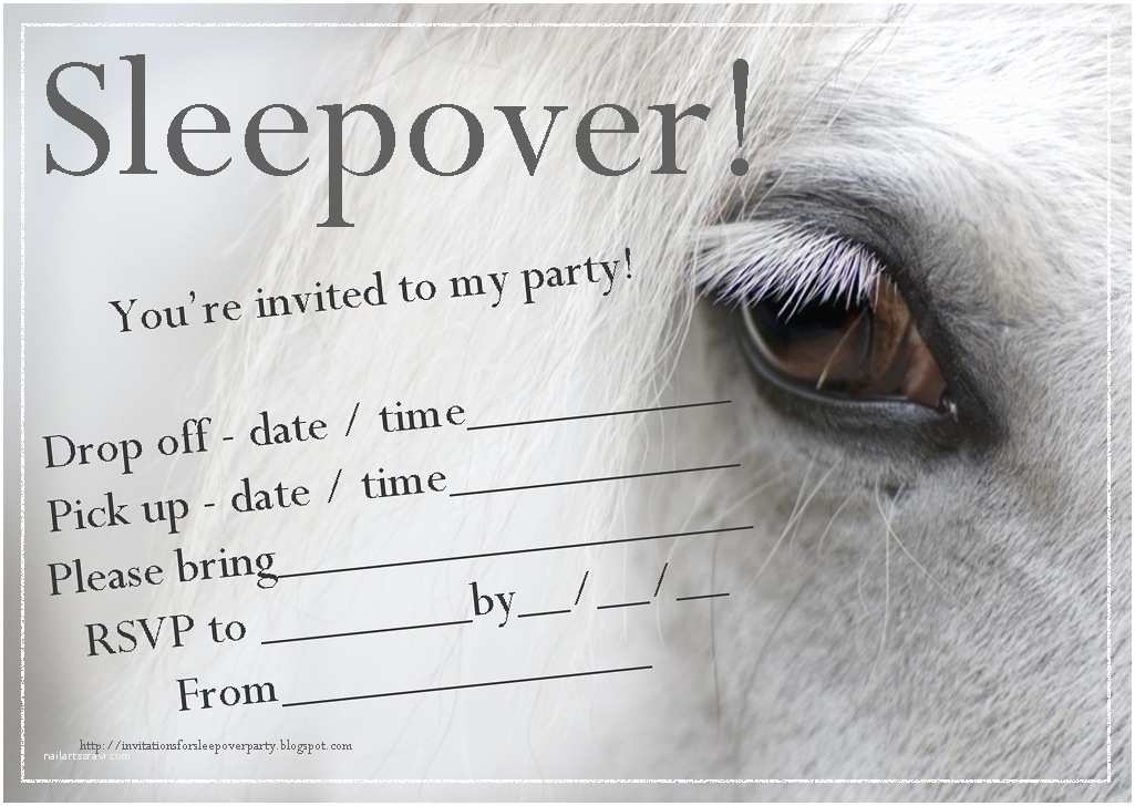 Horse Party Invitations Invitations for Sleepover Party