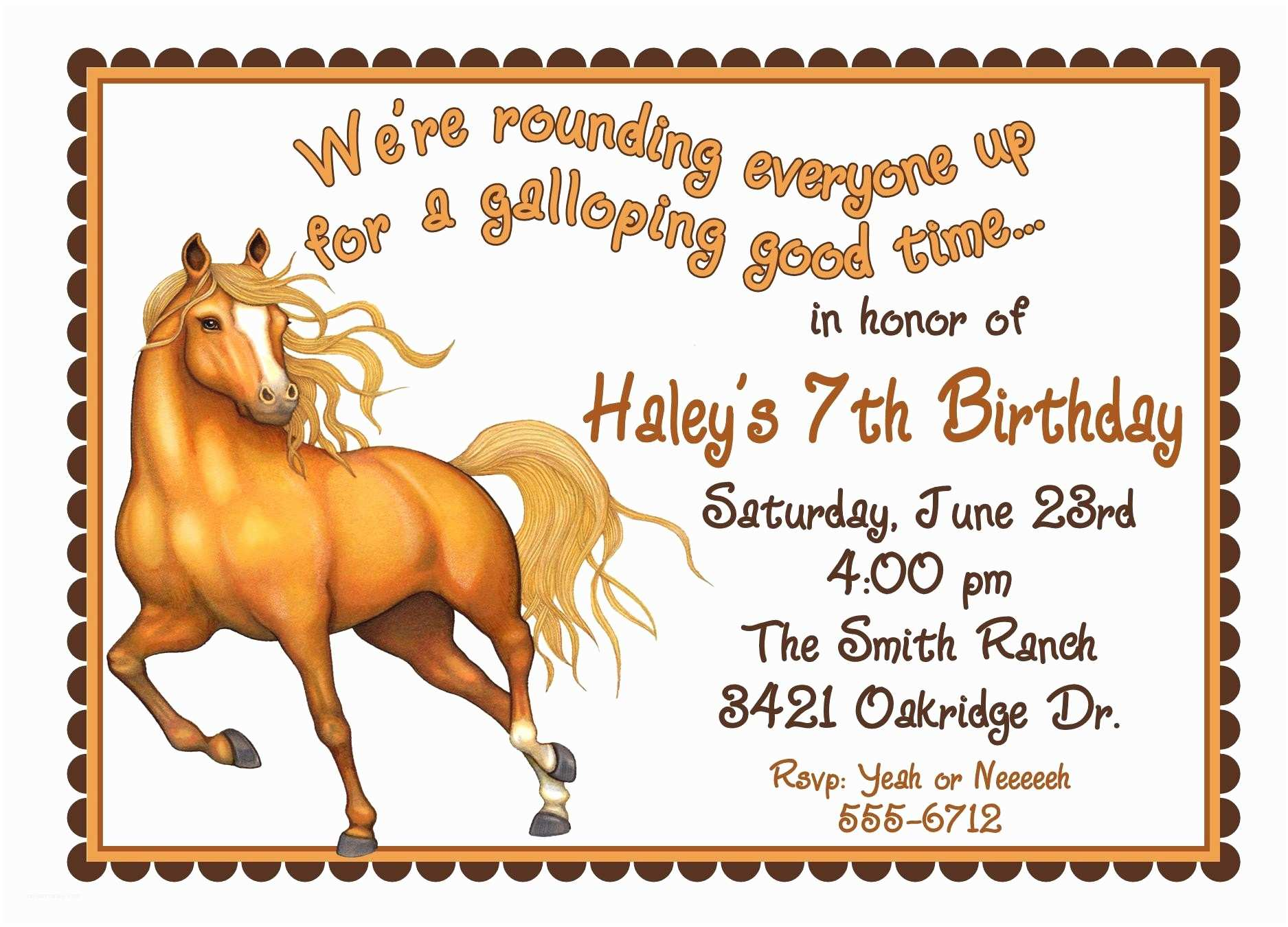 Horse Party Invitations Personalized Birthday Invitations Horse Western Wild West