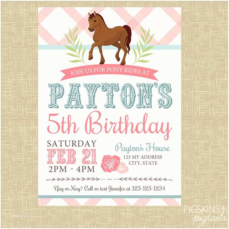 Horse Party Invitations Pony Birthday Invitation Pigskins & Pigtails