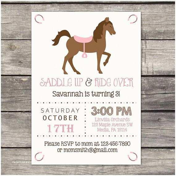 Horse Party Invitations Pony Party Invitations Edit and Download with Templett
