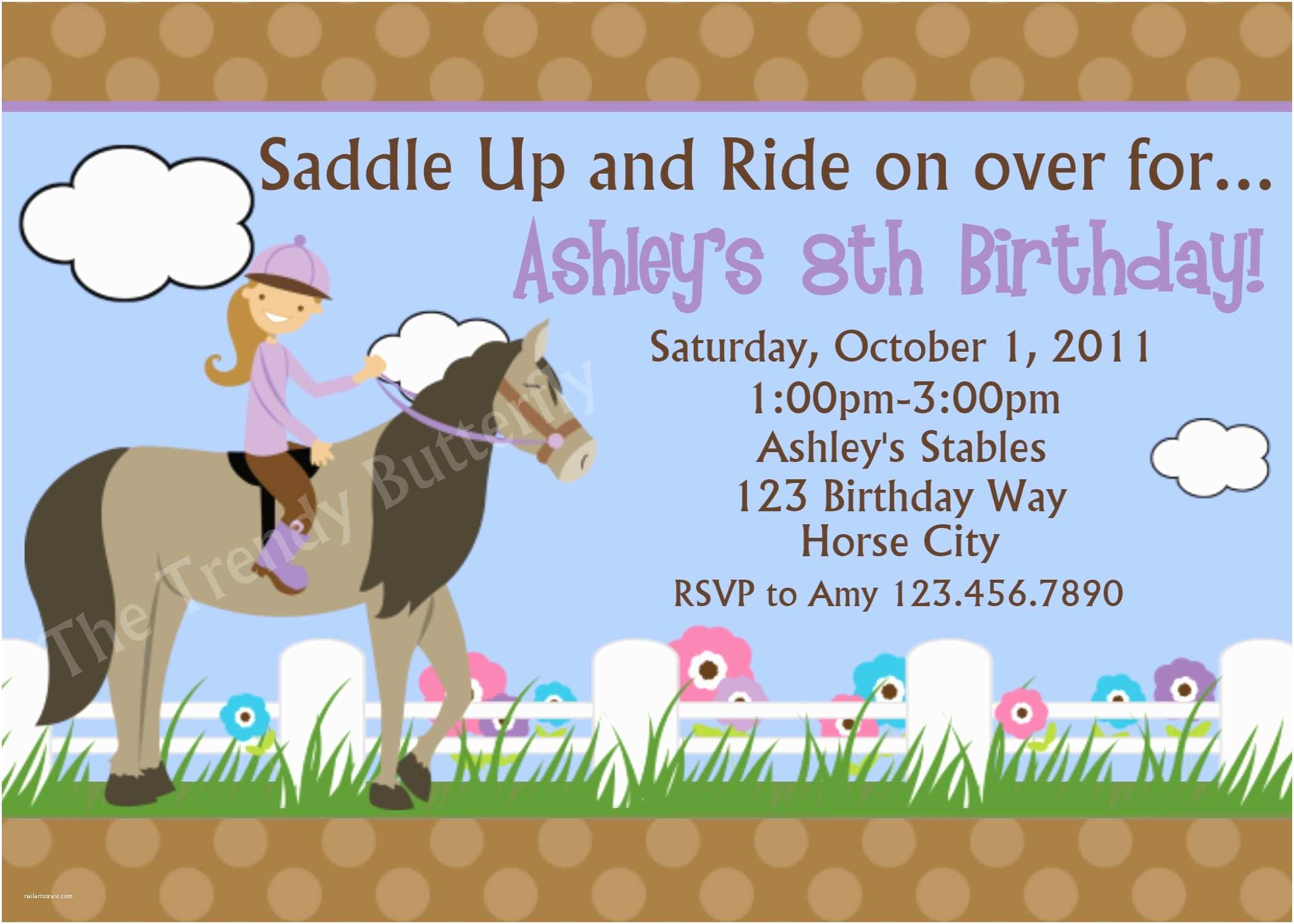 Horse Party Invitations Printable Birthday Invitations Girls Equestrian Horse