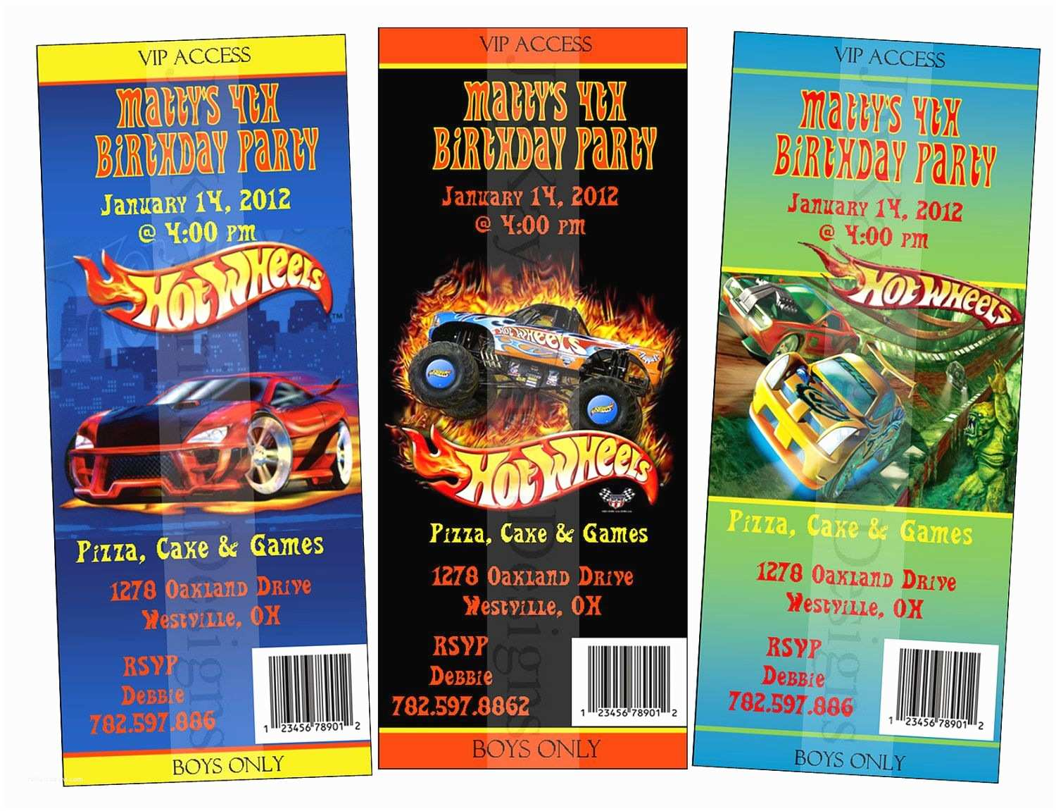 Hot Wheels Party Invitations Hot Wheels Admit One Ticket Style Boys Birthday Party