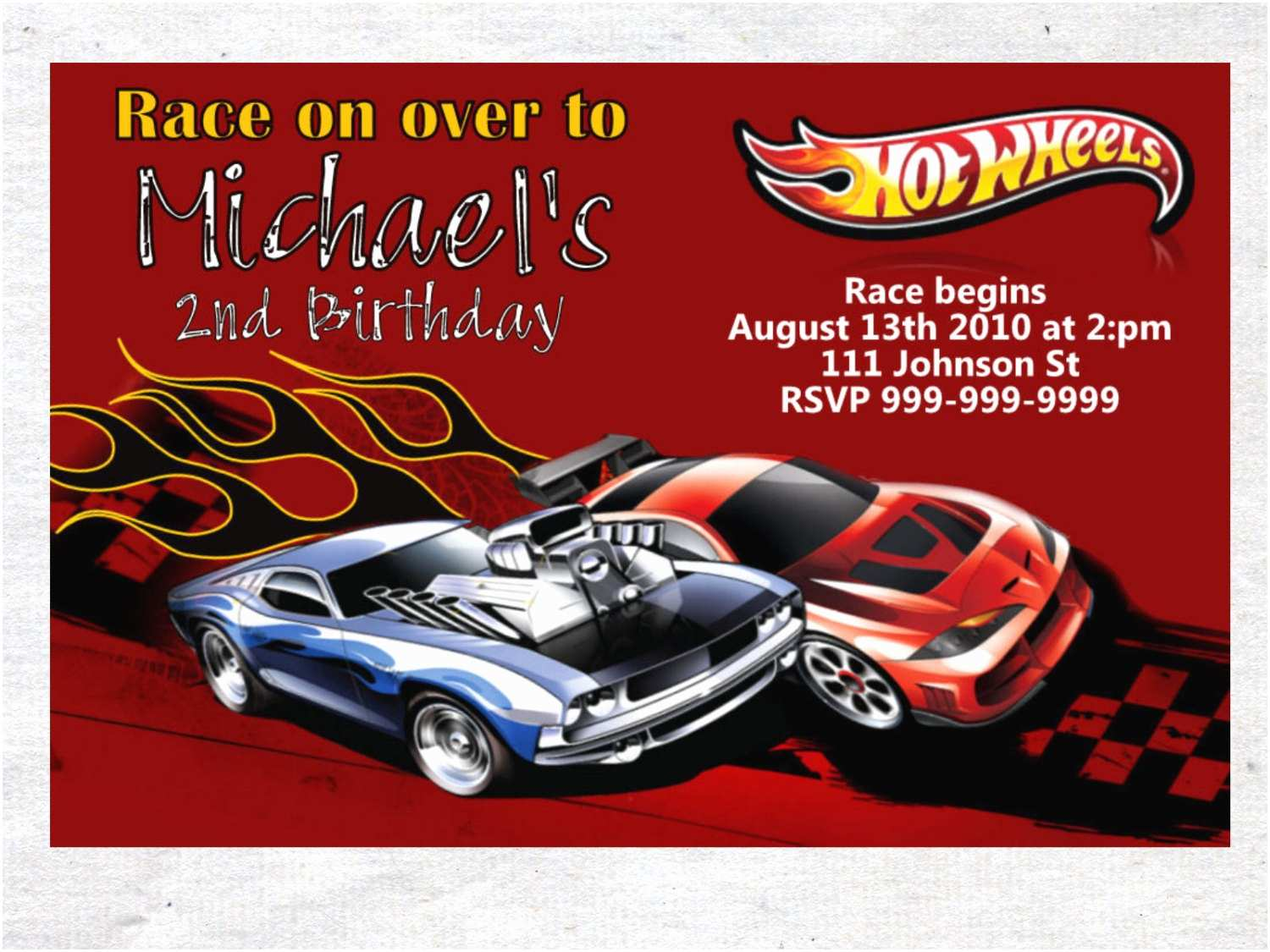 Hot Wheels Party Invitations Hot Wheels Birthday Invitation Chalkboard Chevron Pattern Hot