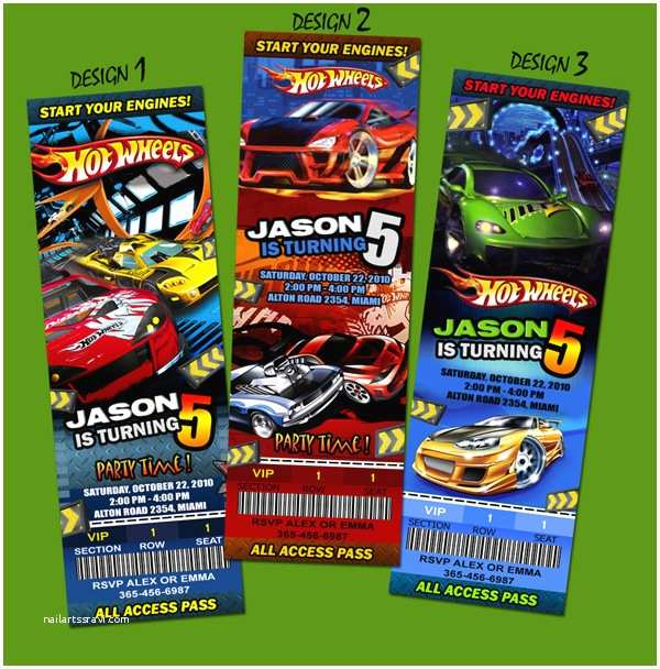 Hot Wheels Party Invitations Hot Wheels Cars Race Birthday Party Invitation Ticket 1st