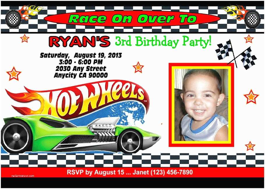 Hot Wheels Party Invitations Hot Wheels Racing Custom Printable Birthday Party