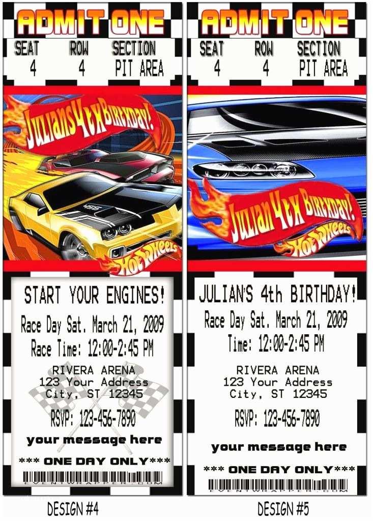 Hot Wheels Party Invitations Hotwheels Birthday Party Vip Pass Ticket Invitations