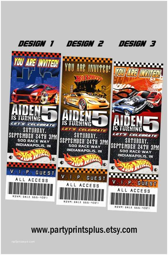 Hot Wheels Party Invitations Hotwheels Invitations Personalized theme by Partyprintsplus