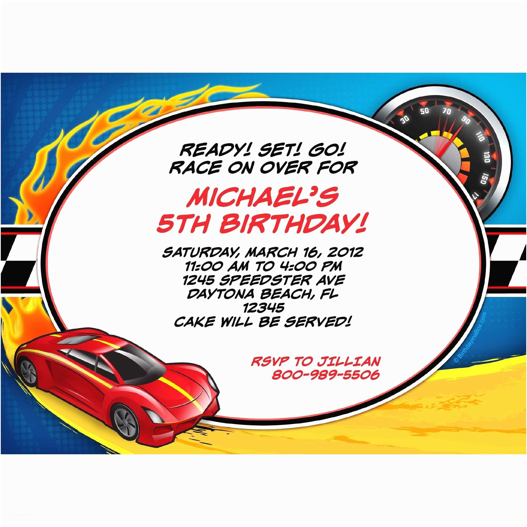 Hot Wheels Party Invitations Super Charged Personalized Invitation Personalized