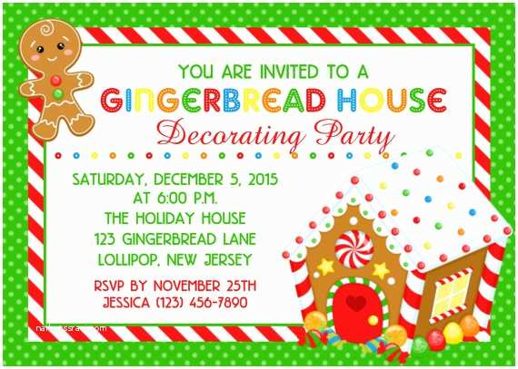 House Party Invitation 20 Gingerbread House Decorating Party Invitations