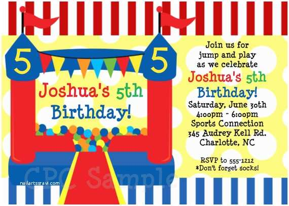 House Party Invitation Personalized Bounce House Printable Kids Birthday