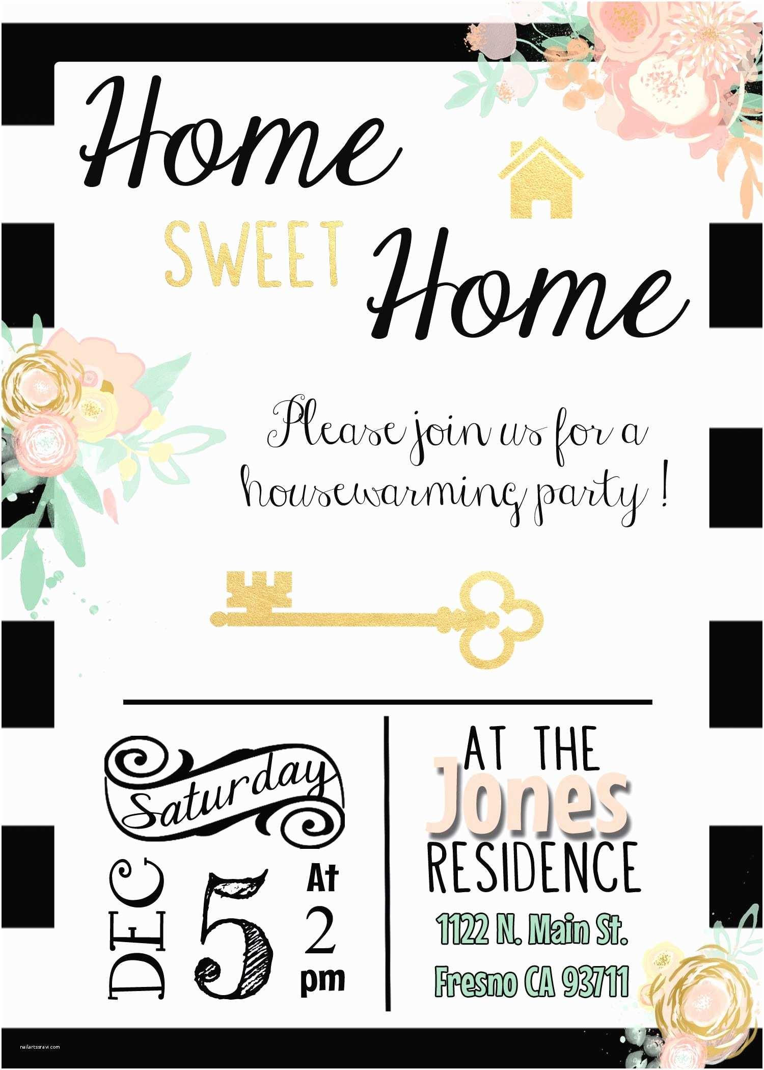 /housewarming/housewarming Invitation Ideas Black White Gold Housewarming Invitation Invite Stripes