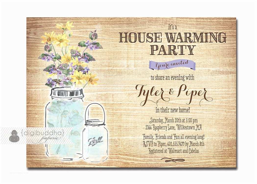 Housewarming Party Invitation Mason Jar Housewarming Invitation Rustic Wood Watercolor