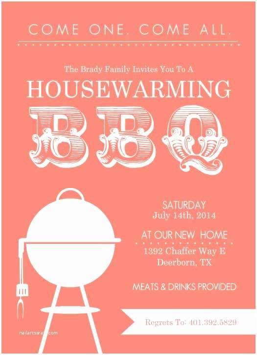 Housewarming Party Invitation Template Coral Modern Bbq Housewarming Invitation by Purpletrail