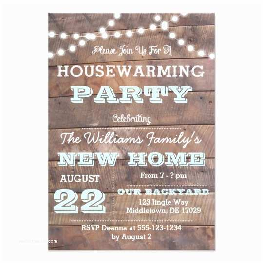 Housewarming Party Invitations Barnwood Lights Aqua Housewarming Invitations