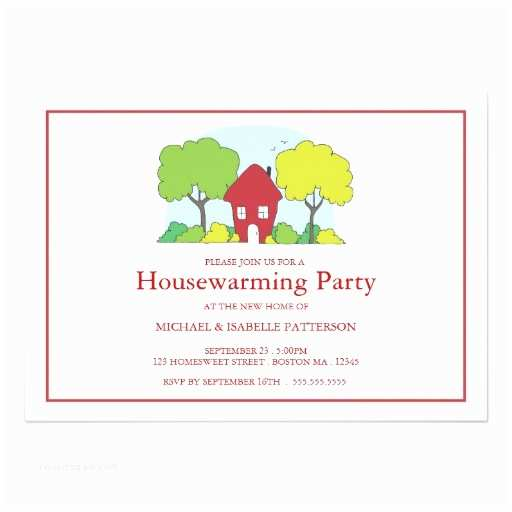 "Housewarming Party Invites Little Red House Housewarming Party Invitation 5"" X 7"