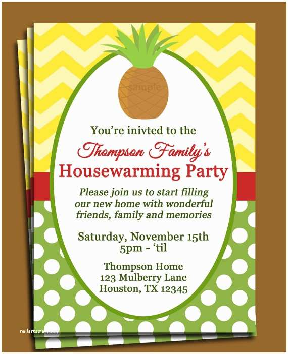 Housewarming Party Invites Pineapple Invitation Printable or Printed with Free