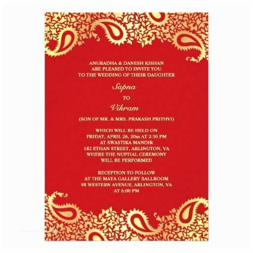 "How to Create Indian Wedding Invitation Card Online for Free Paisleys Elegant Indian Wedding Flat Invitation 5"" X 7"