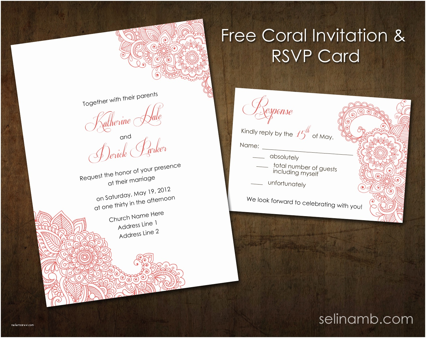 How to Create Wedding Invitation Coral Wedding Invitation Rsvp Printable by Selinamb On