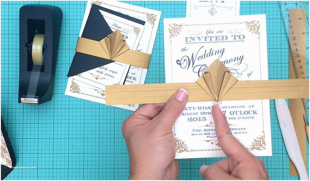 How to Create Wedding Invitation Free Template Vintage Wedding Invitation with Art Deco Band