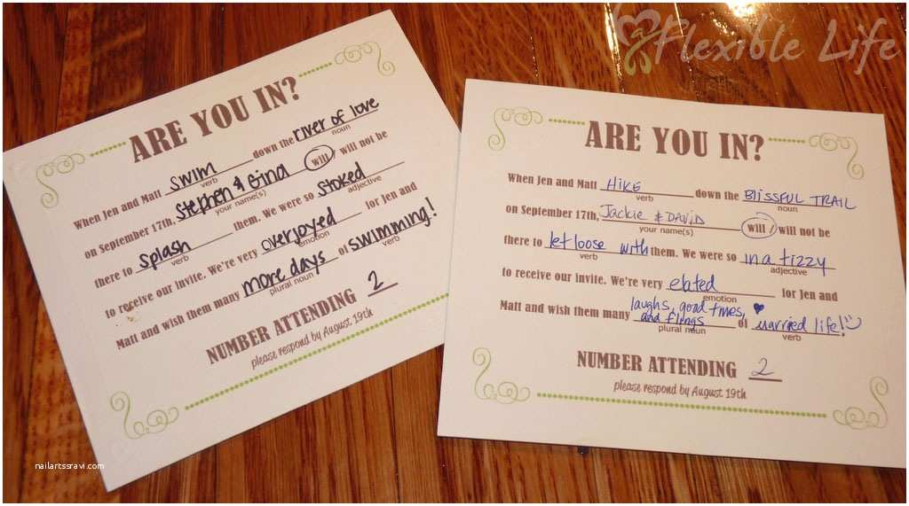 How to Fill Out A Wedding Invitation Our Diy Mad Libs Style Wedding Rsvp Invitiation Card A
