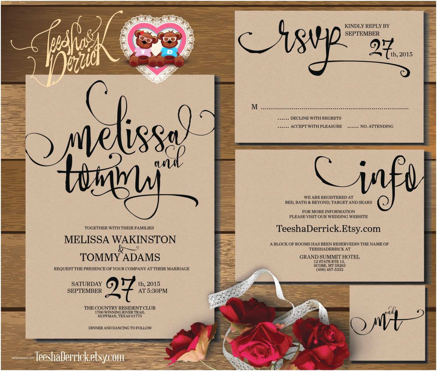 How to Invite for Wedding Printable Wedding Invitation Suite W0346 Consists Of