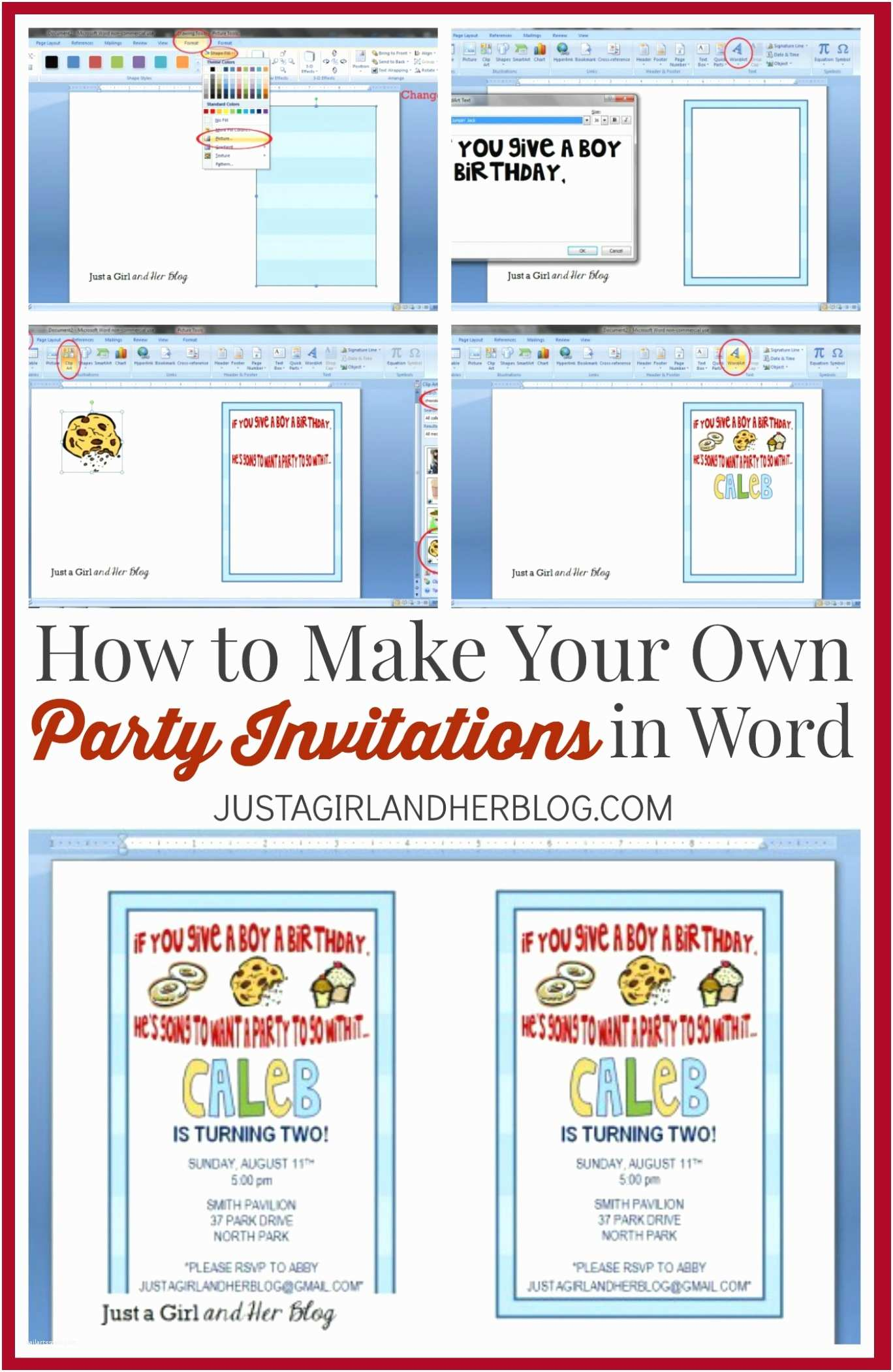 How to Make Own Wedding Invitations How to Make Your Own Party Invitations Just A Girl and