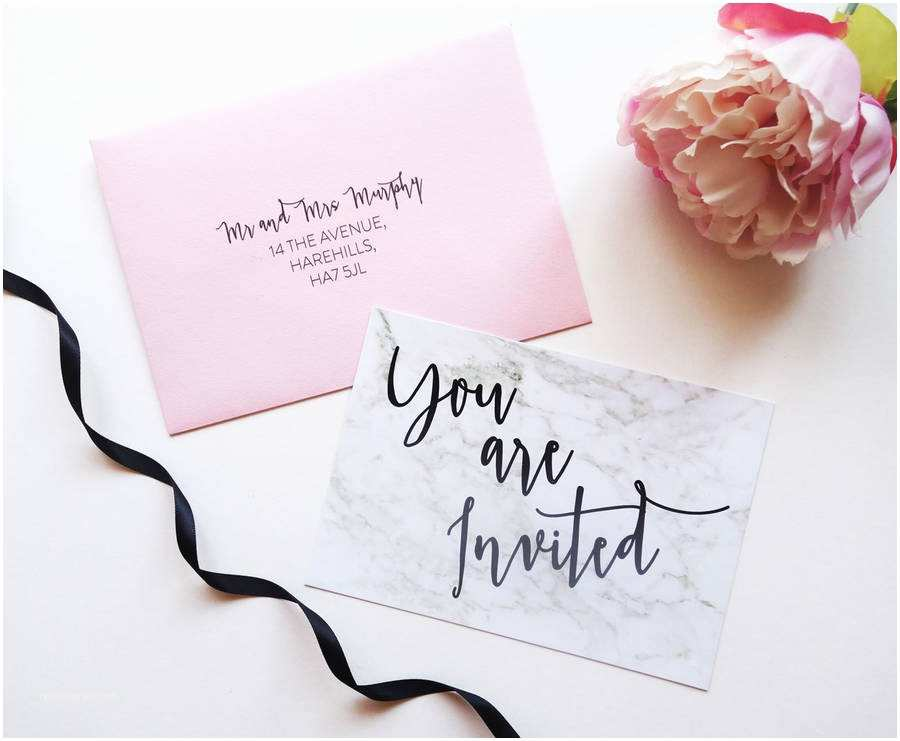 How to Make Your Own Wedding Invitations at Home Write Yourself Modern Marble Wedding Invitation by Cj