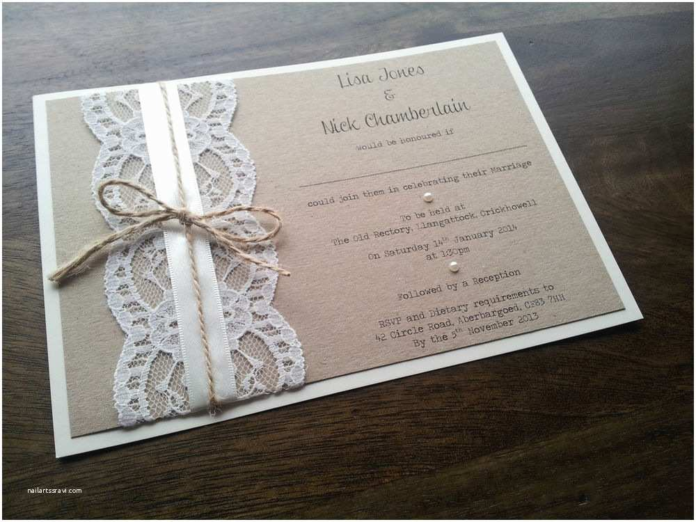How to Make Your Wedding Invitations at Home Sample Personalised Handmade Vintage Chic Lace Wedding