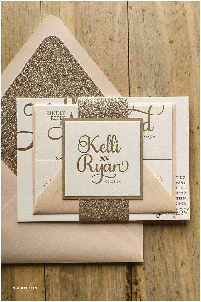 How to Package Wedding Invitations Adele Suite Glitter Package Blush and Gold Letterpress