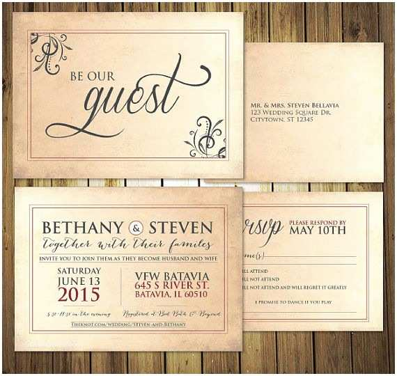 How to Package Wedding Invitations Be Our Guest Wedding Invitation Rsvp Menu