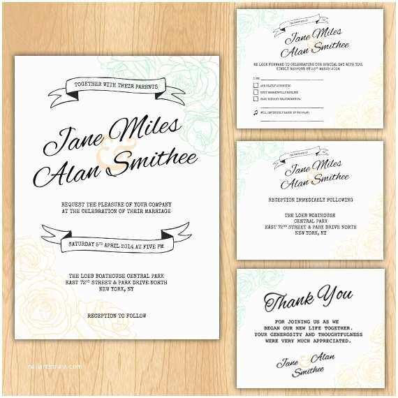 How to Package Wedding Invitations Floral Wedding Invitation Package Printable Digital Files