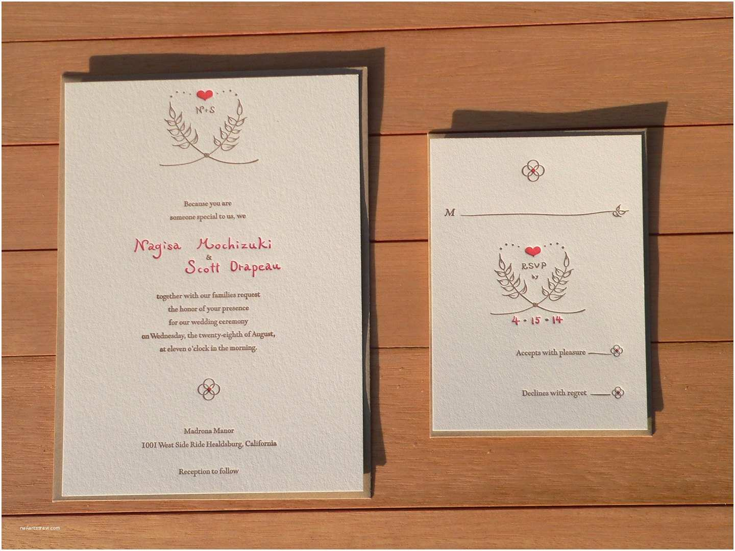 How to Package Wedding Invitations Letterpress Wedding Invitation Package – Rustic Natural