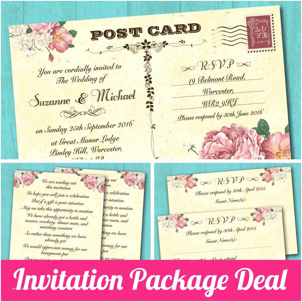 How to Package Wedding Invitations Package Deal Wedding Invitation Rsvp Card & Gift Poem