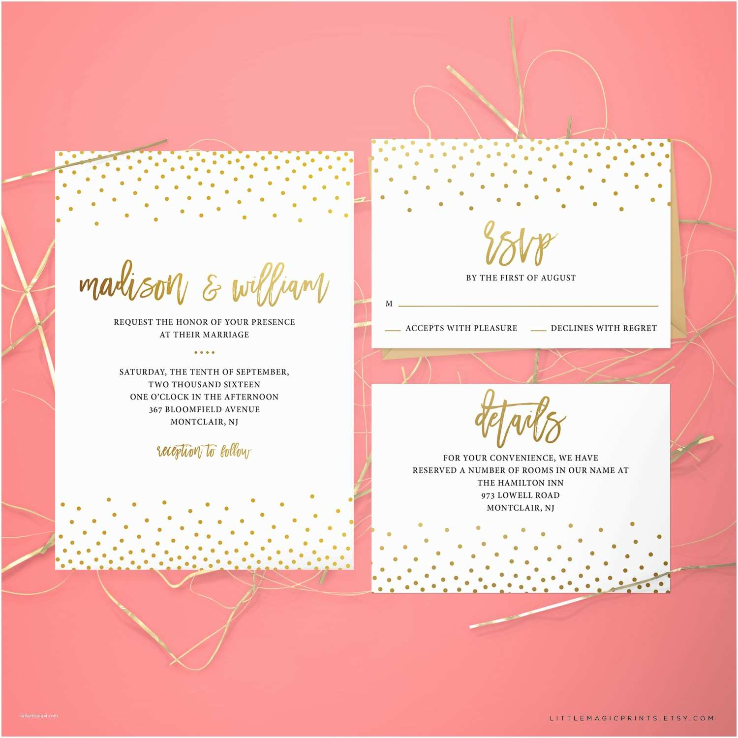 How to Package Wedding Invitations Printable Wedding Invitation Package by Littlemagicprints