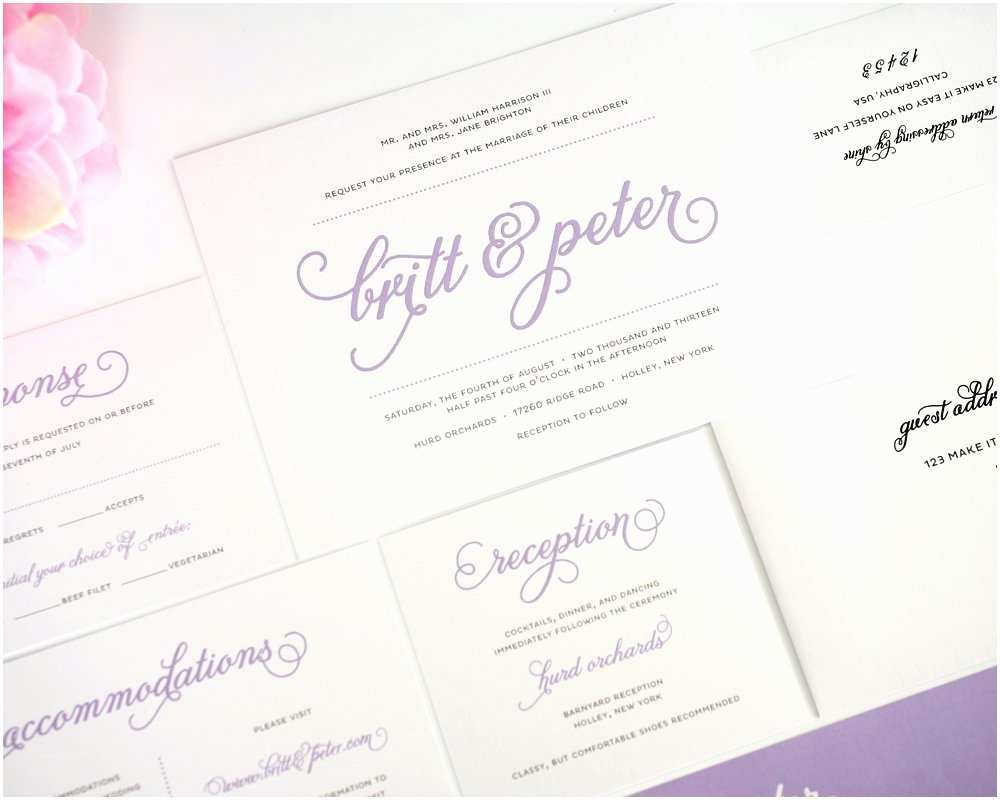 How to Package Wedding Invitations Purple Wedding Invitations with Script Names – Wedding