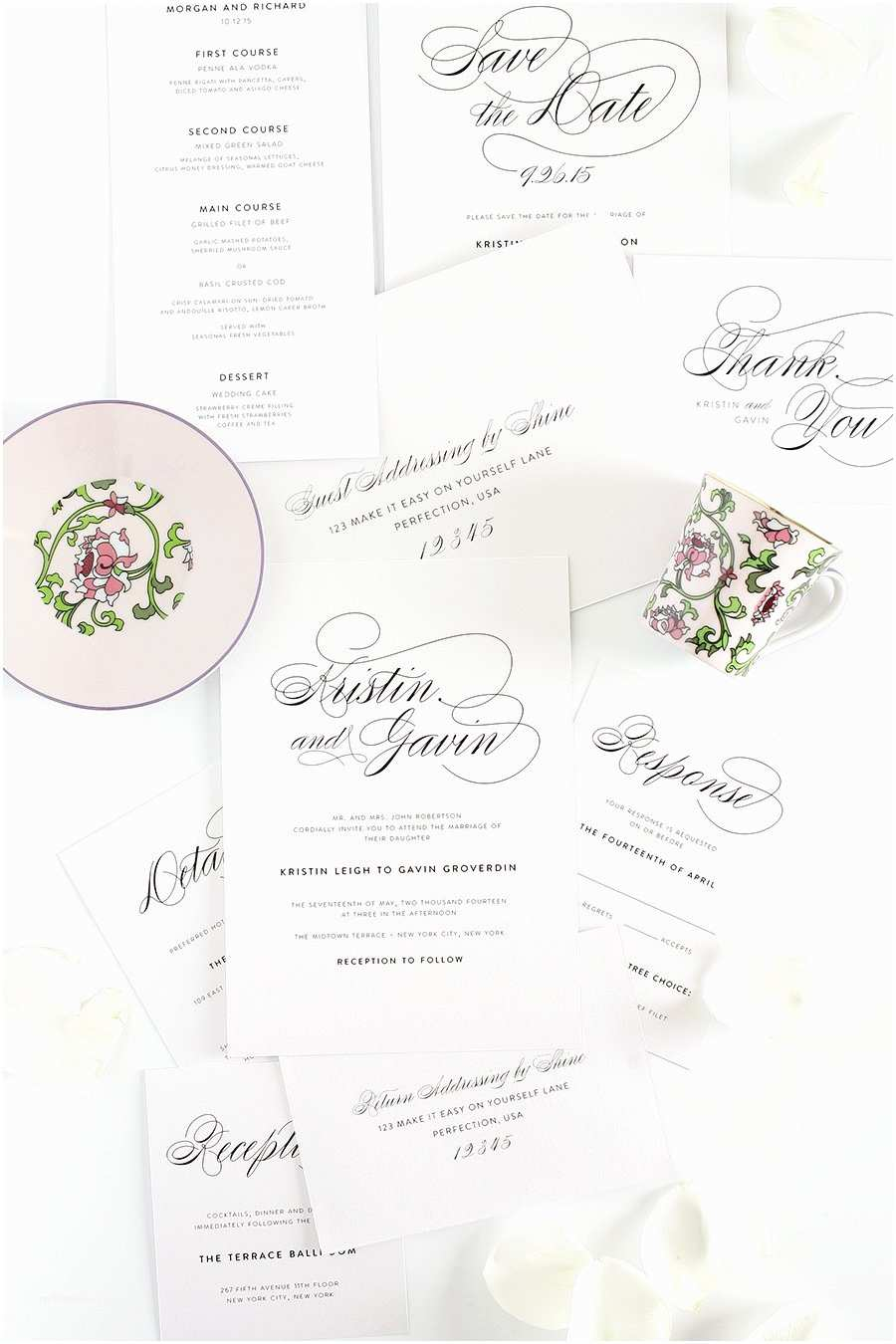 How to Package Wedding Invitations Vintage Script Wedding Invitations – Plete Package