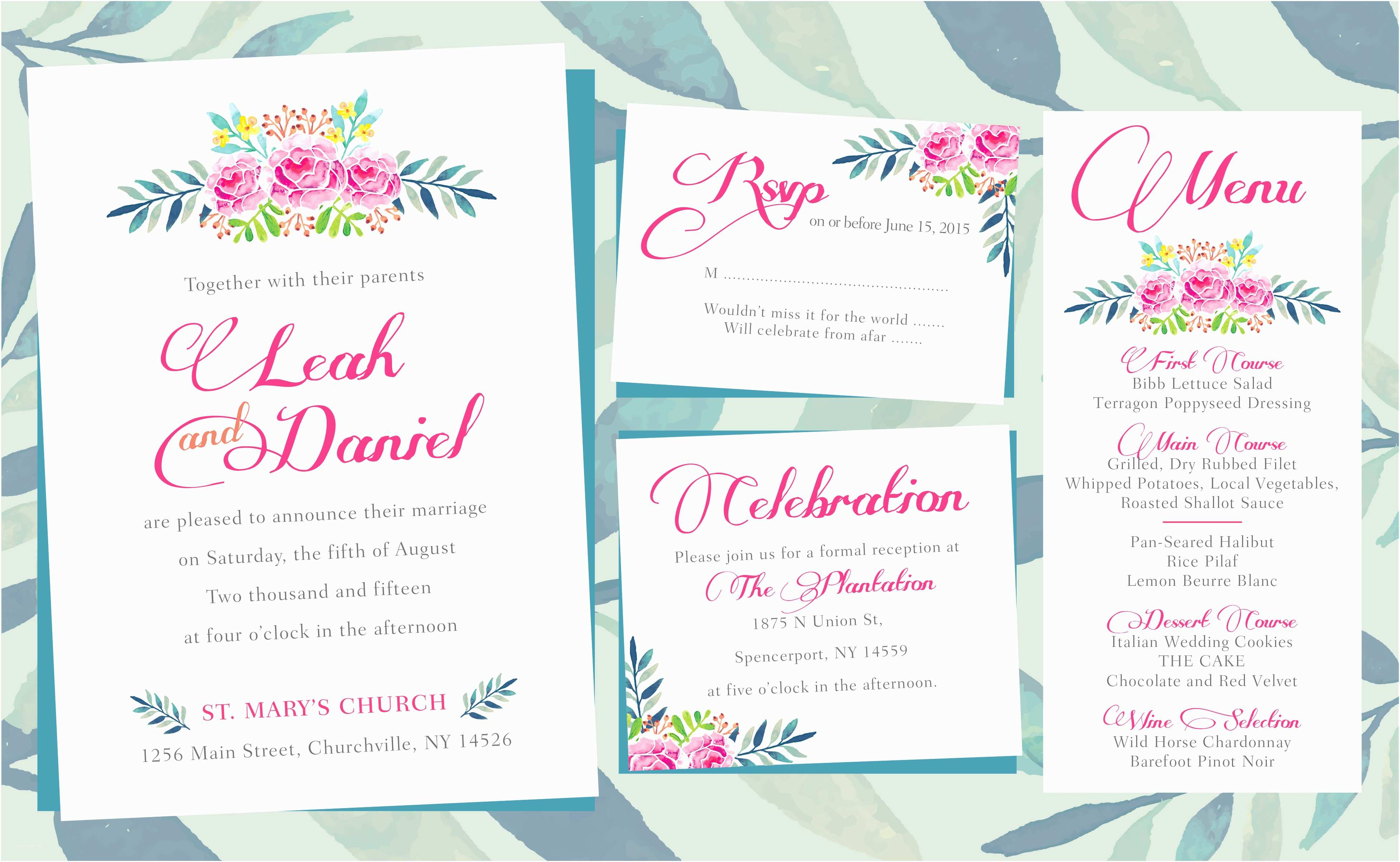 How to Print Wedding Invitations Floral Wedding Invitations – Printing by Penny Lane