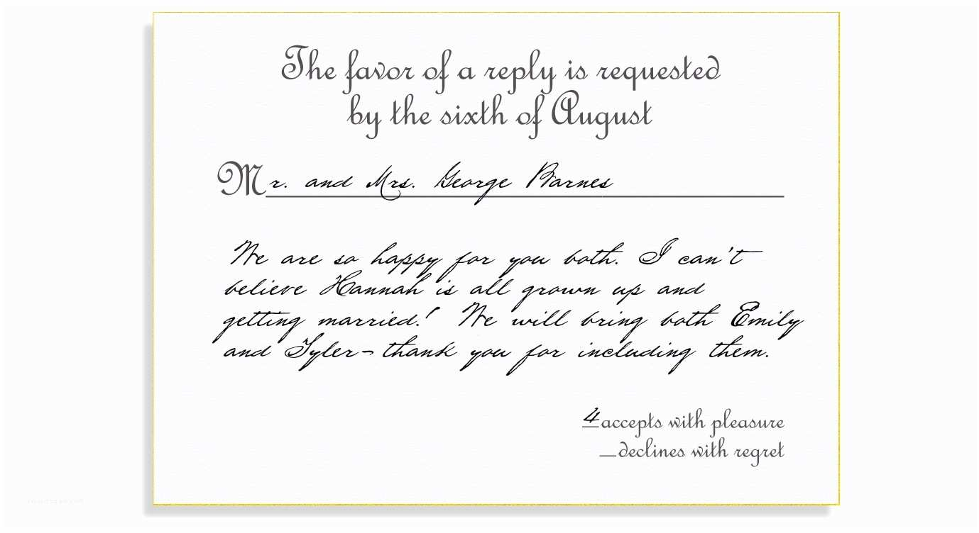 How to Rsvp for Wedding Invitation Rsvp Etiquette Traditional Favor Accepts Regrets Placement