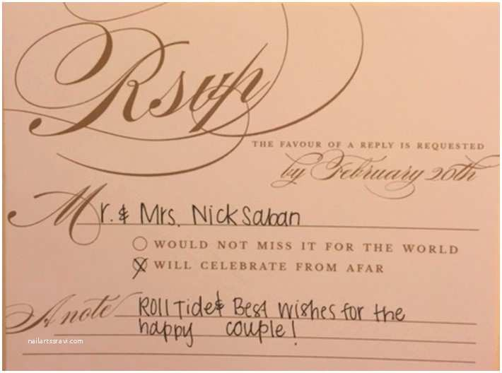 How to Rsvp for Wedding Invitation Sabans Stun Hard Alabama Fan with Heartfelt Response
