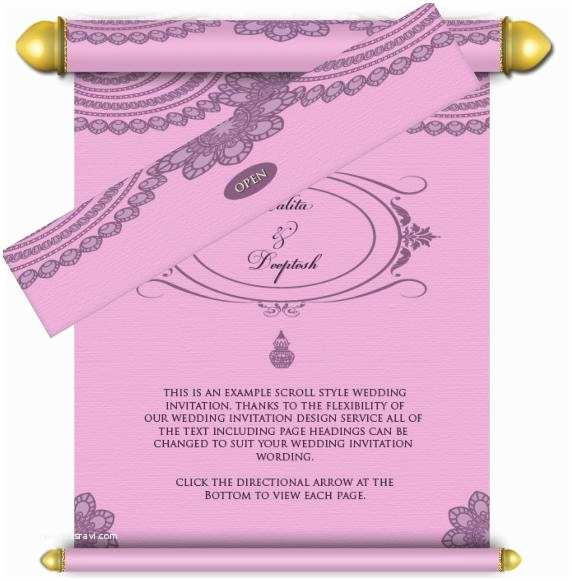 How to Send Wedding Invitations by Email Royal Scroll Email Wedding Invitations Pink & Purple