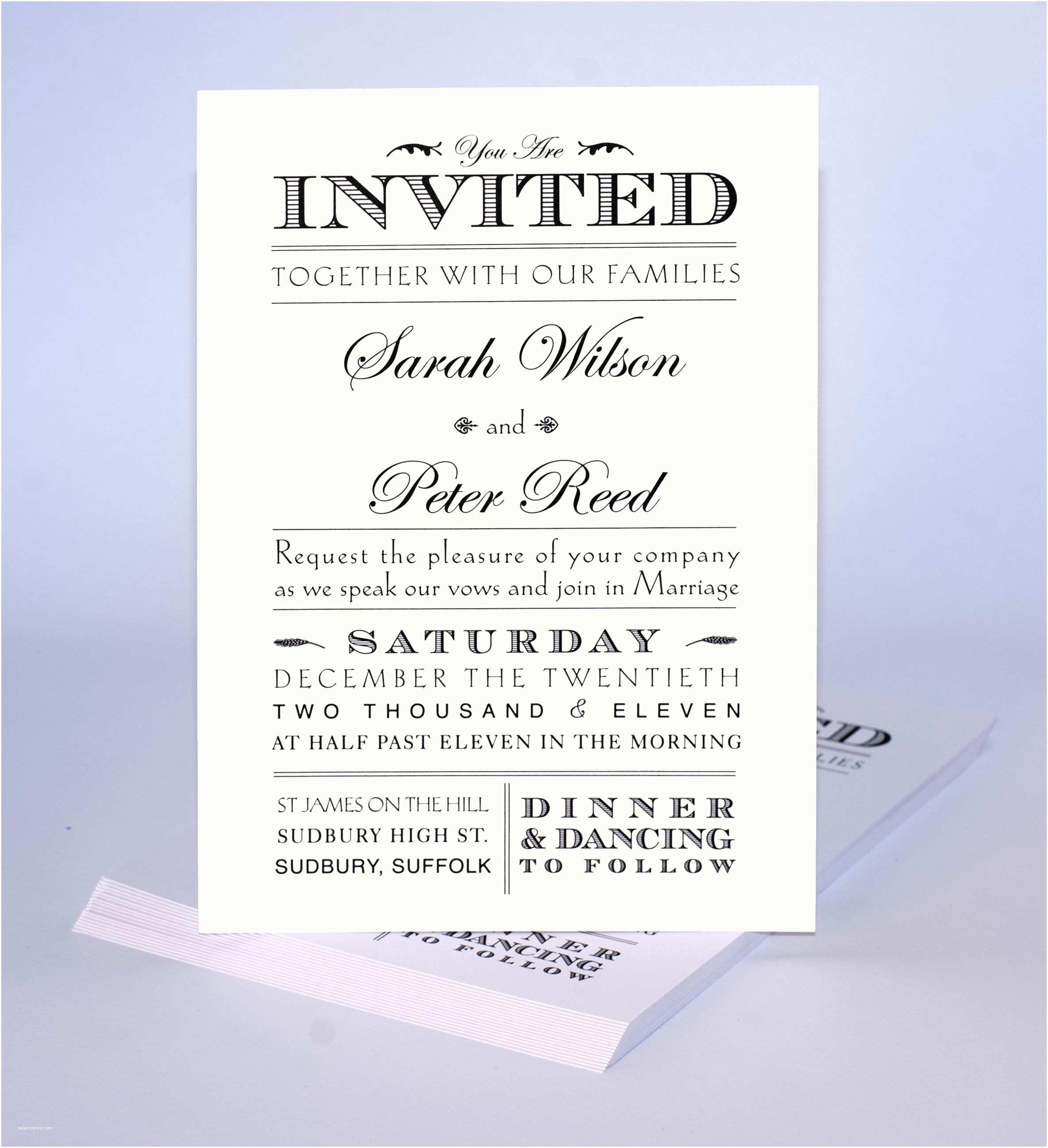 How to Word formal Wedding Invitations Multiple Font Invite Design Print Artwork