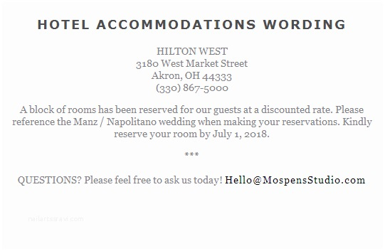 How to Word Hotel Accommodations for Wedding Invitations Wording to Use when Giving Out Room Block Information to