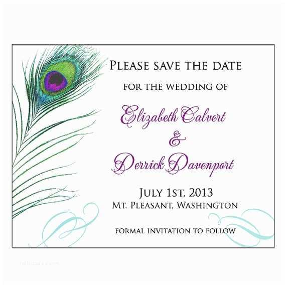 How to Write Time On Wedding Invitation Peacock Feather Save the Date Wedding Invitation by Dearemma