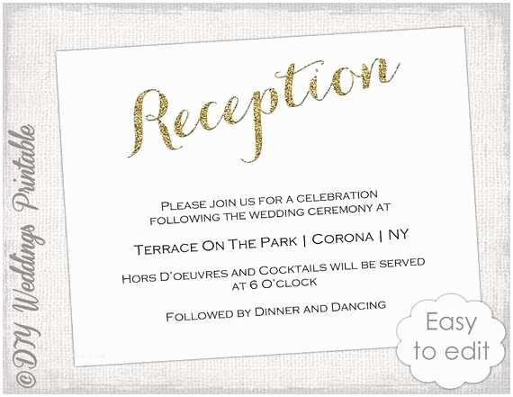 How to Write Time On Wedding Invitation Wedding Reception Invitation Template Diy Gold